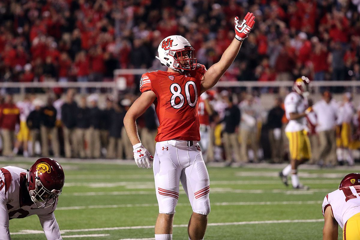 Utah Utes tight end Brant Kuithe signals a first down after catching a pass against the USC Trojans during NCAA football in Salt Lake City on Saturday, Oct. 20, 2018.