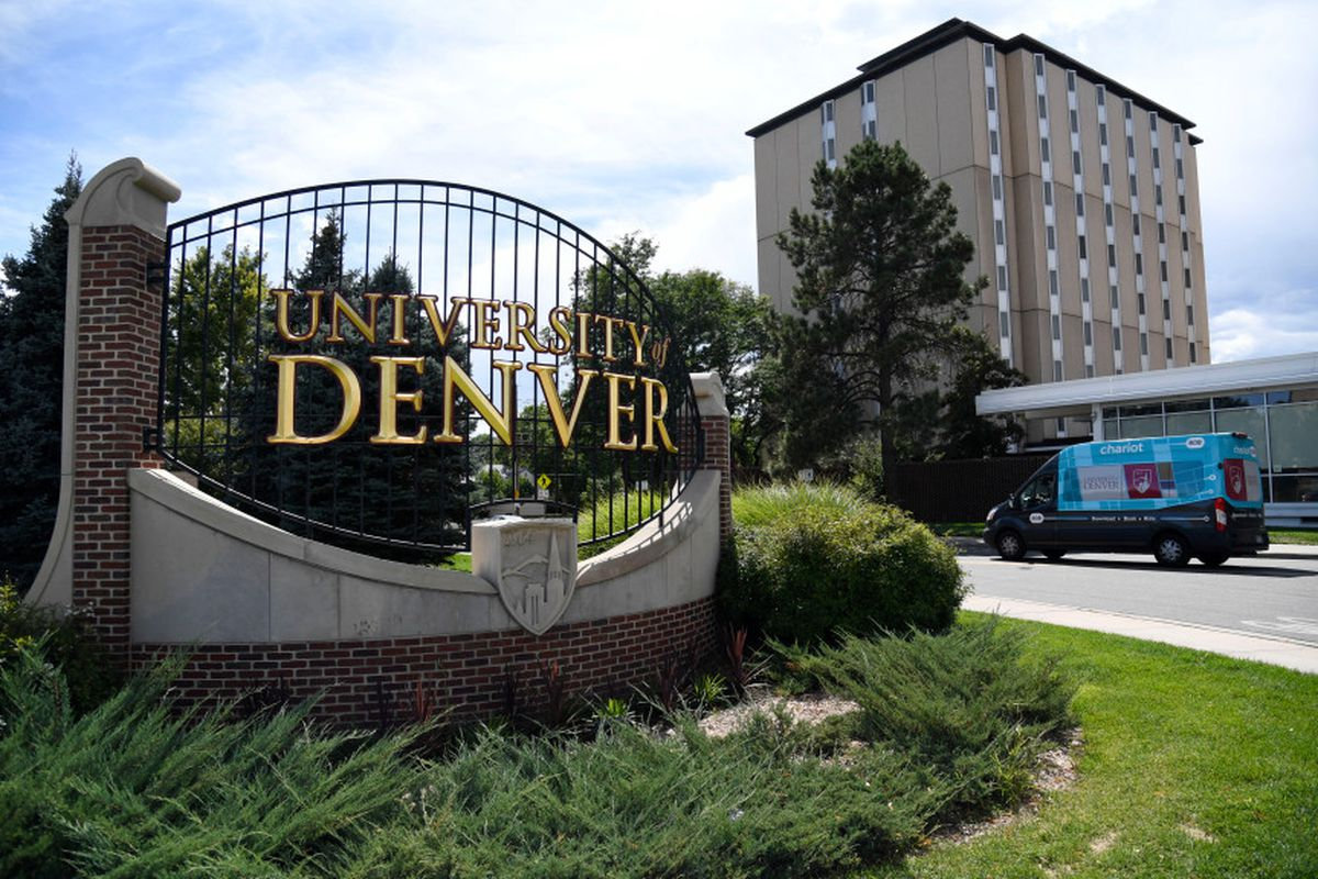 Sign depicts an entrance to the University of Denver campus.