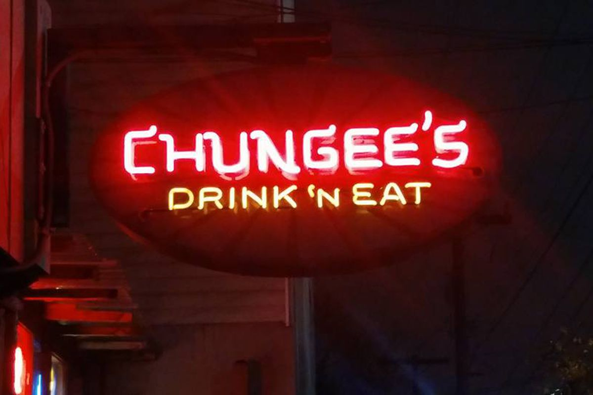 The glowing red neon sign for Chungee's Drink 'N' Eat in Capitol Hill.