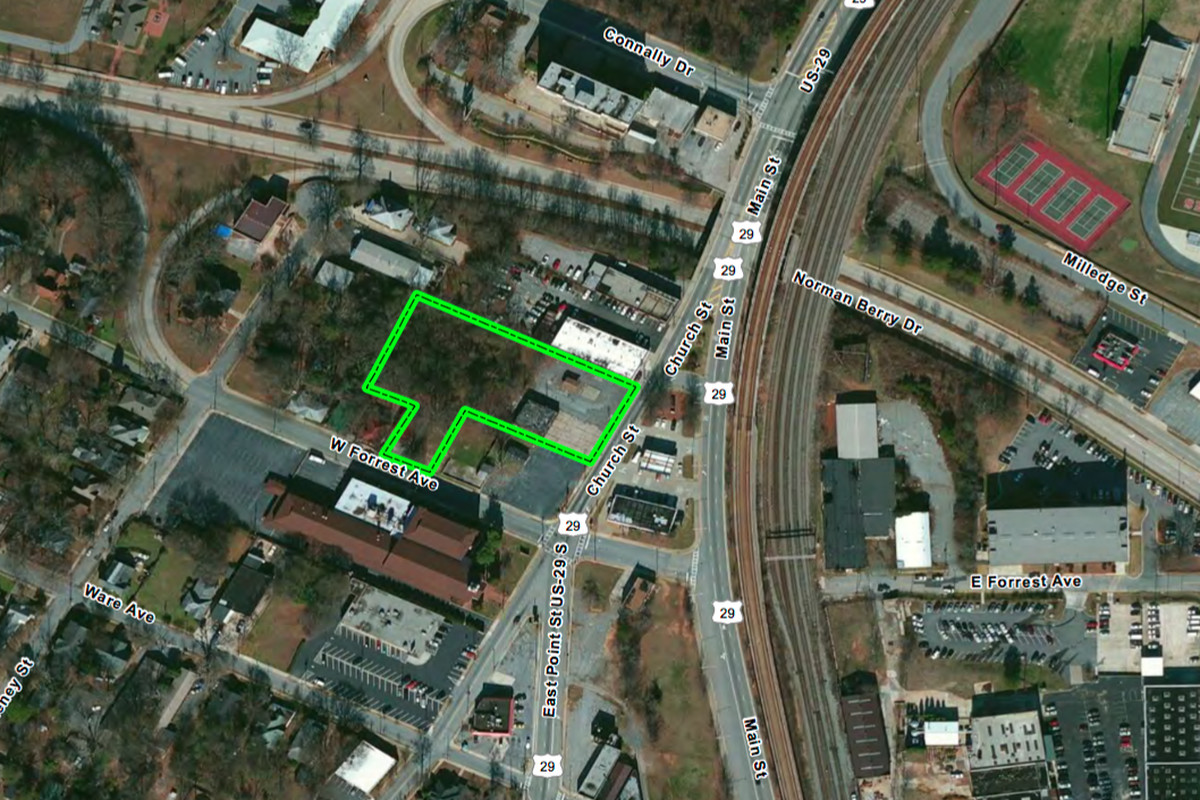 The East Point site in question, near Main Street and MARTA's heavy rail.