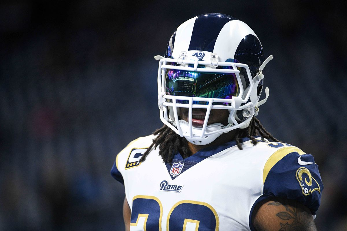 LA Rams RB Todd Gurley before the Week 13 game against the Detroit Lions.