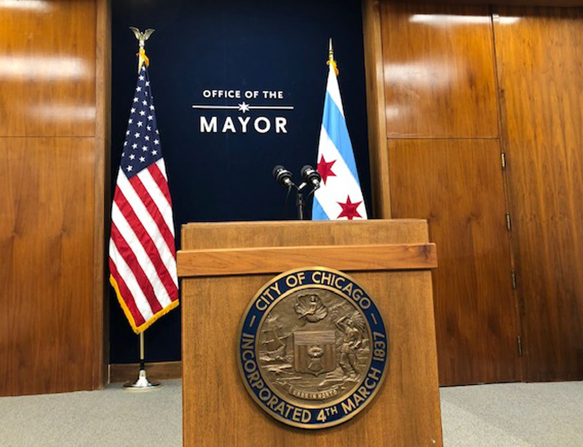 Renovations in Mayor Lori Lightfoot's office suite at City Hall include a lowered lectern for news conferences.