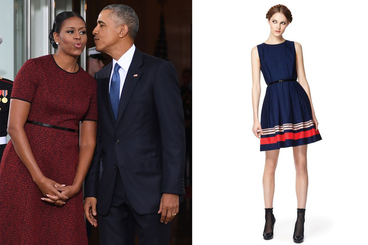ac83ec2fd Michelle Obama (with husband) wearing Jason Wu on her last day at the White  House in January 2017; Jason Wu x Target, 2012. Jim Watson/AFP; Target