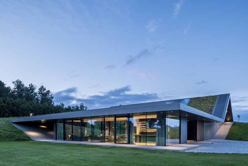 A flat level of the home has glass walls fronting the living space, while its green roof rises into a peak.