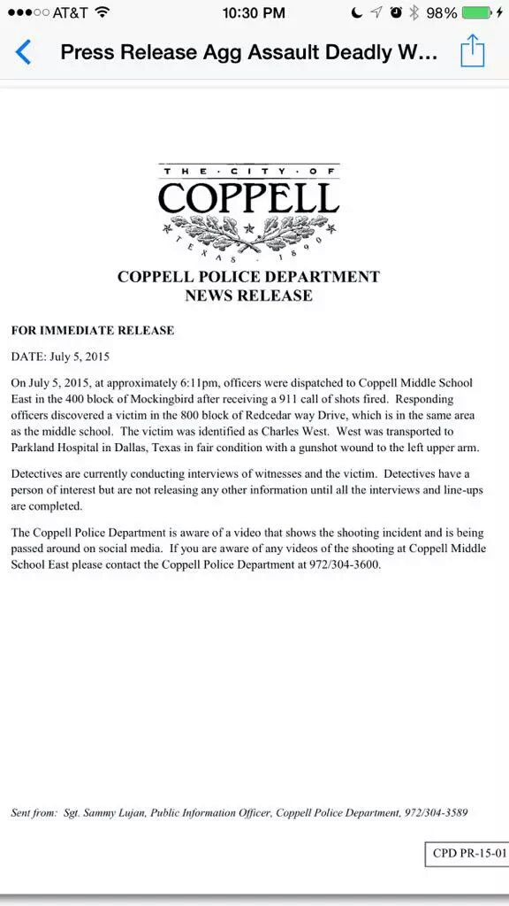charles west coppell police press release shot in arm