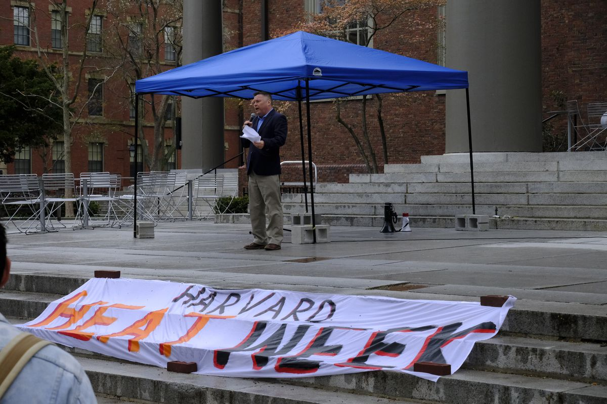 Marc McGovern, mayor of Cambridge, MA,  speaks to divestment campaigners during Harvard Heat Week.