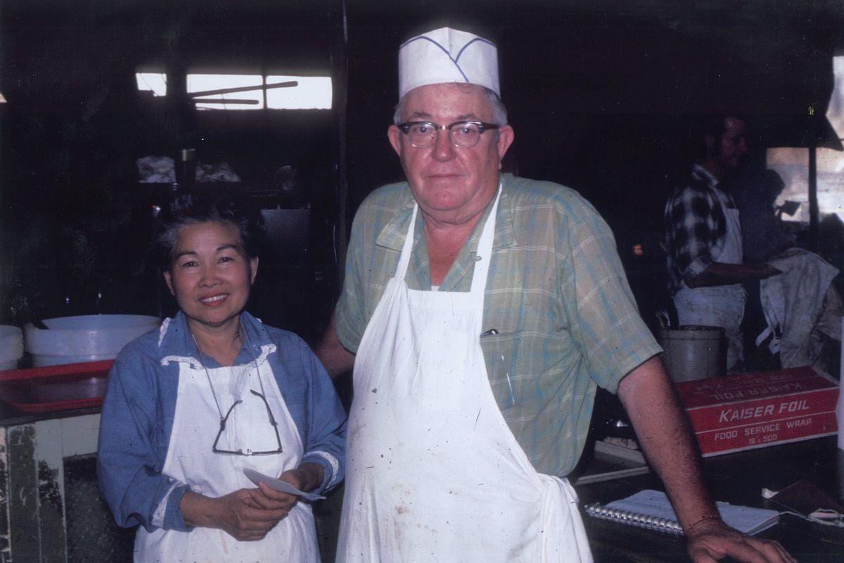 Hisako Roberts, left, with her husband Thurman Roberts