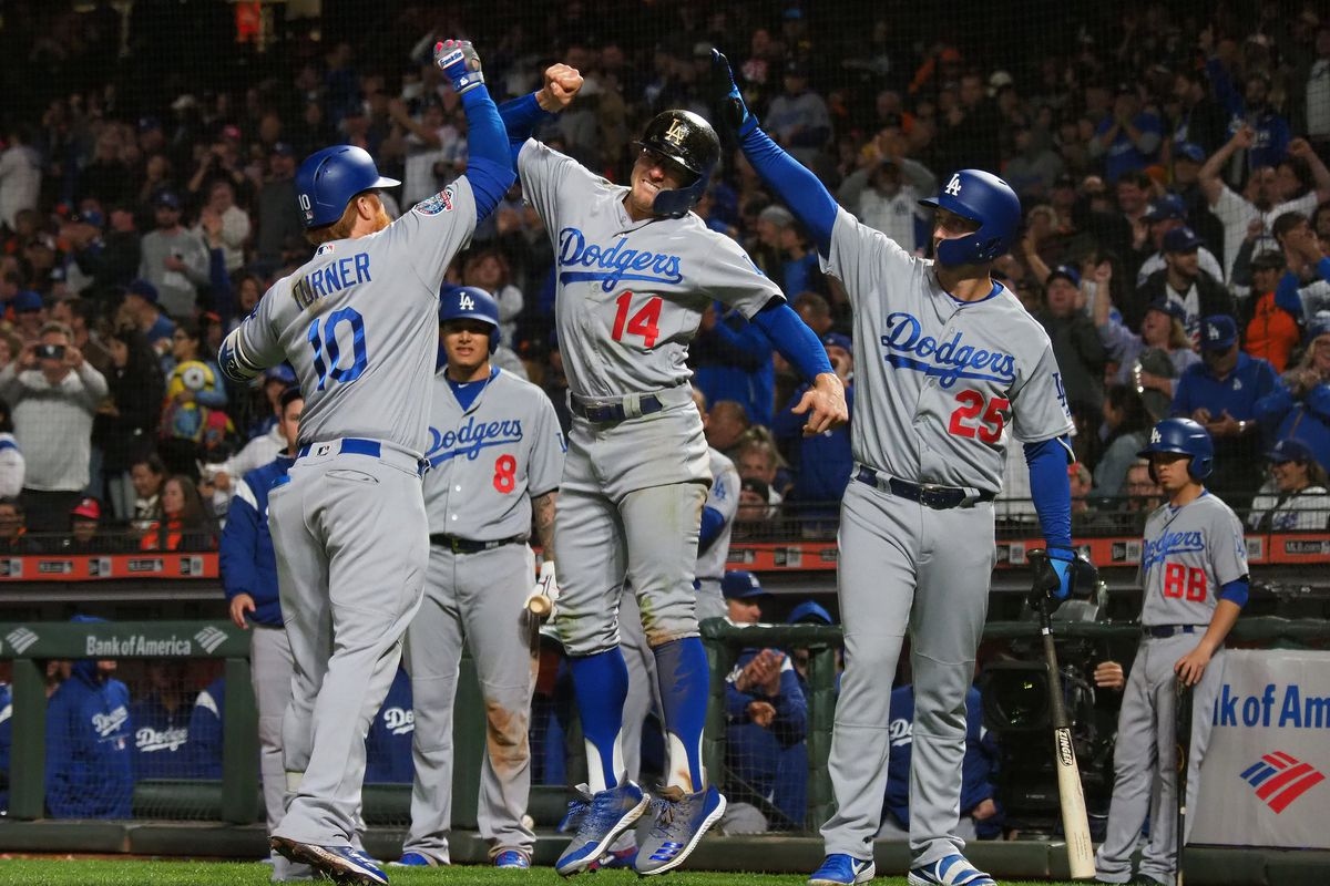 dodgers keep pace with rockies beat giants in opener true blue la