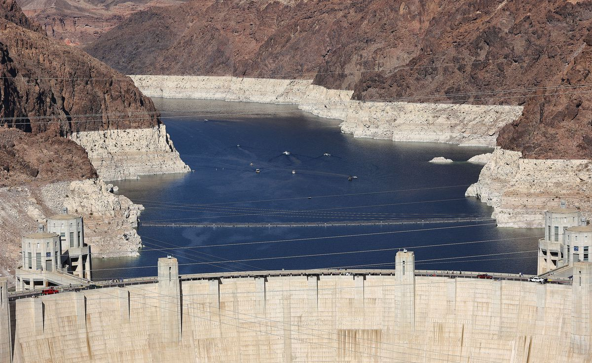 Boaters cruise on Lake Mead near the Hoover Dam on Saturday, April 10, 2021. Both the Colorado and the Virgin Rivers empty into the lake.