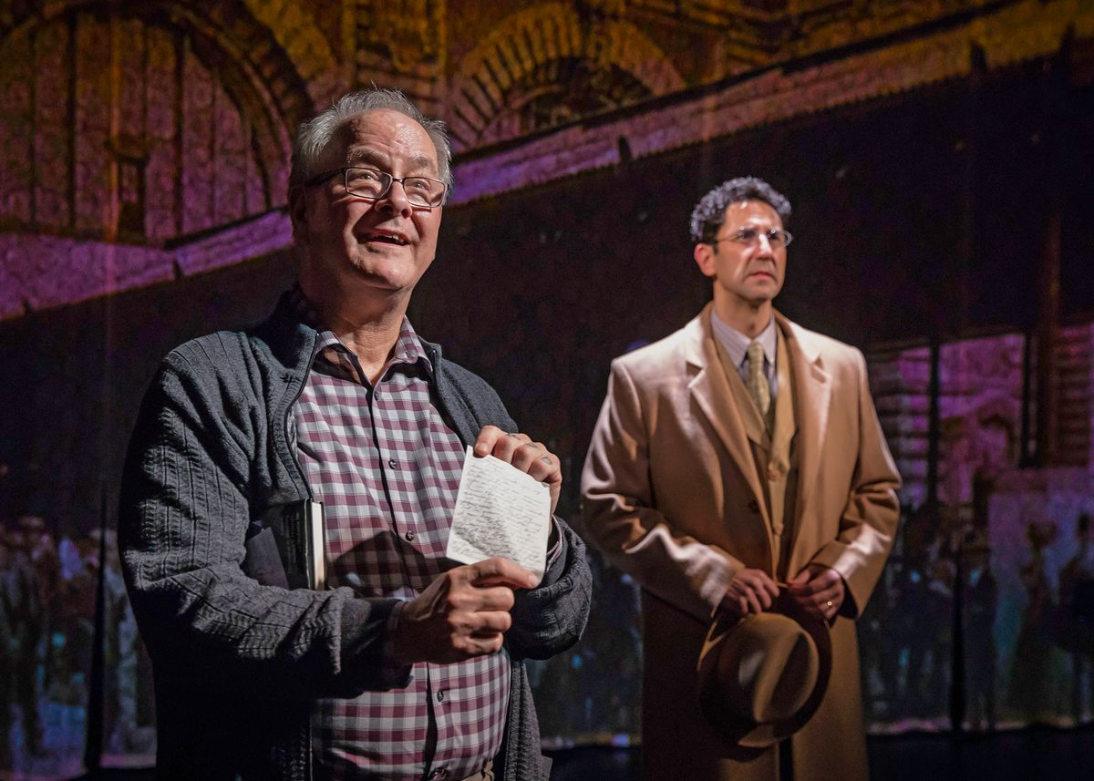 """Francis Guinan (left) plays Richard Hollander, with Sean Fortunato as his father, Joseph, in """"The Book of Joseph,"""" at Chicago Shakespeare Theater. (Photo: Liz Lauren)"""