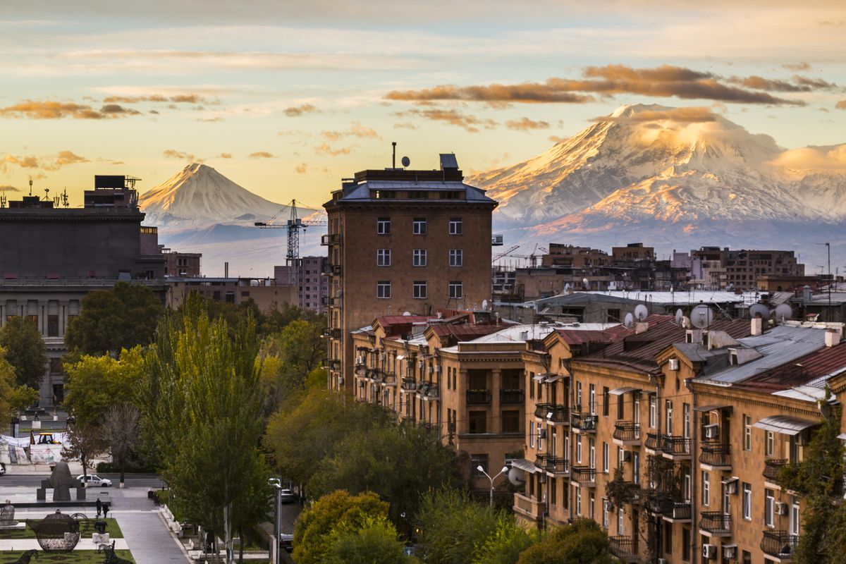 Sunrise in Yerevan, Armenia, with the view with Ararat mountain in the background.