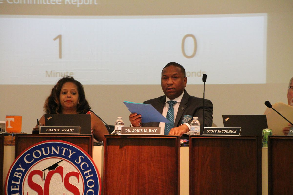 From left, Shante Avant, chairwoman for Shelby County Schools board, and Superintendent Joris Ray