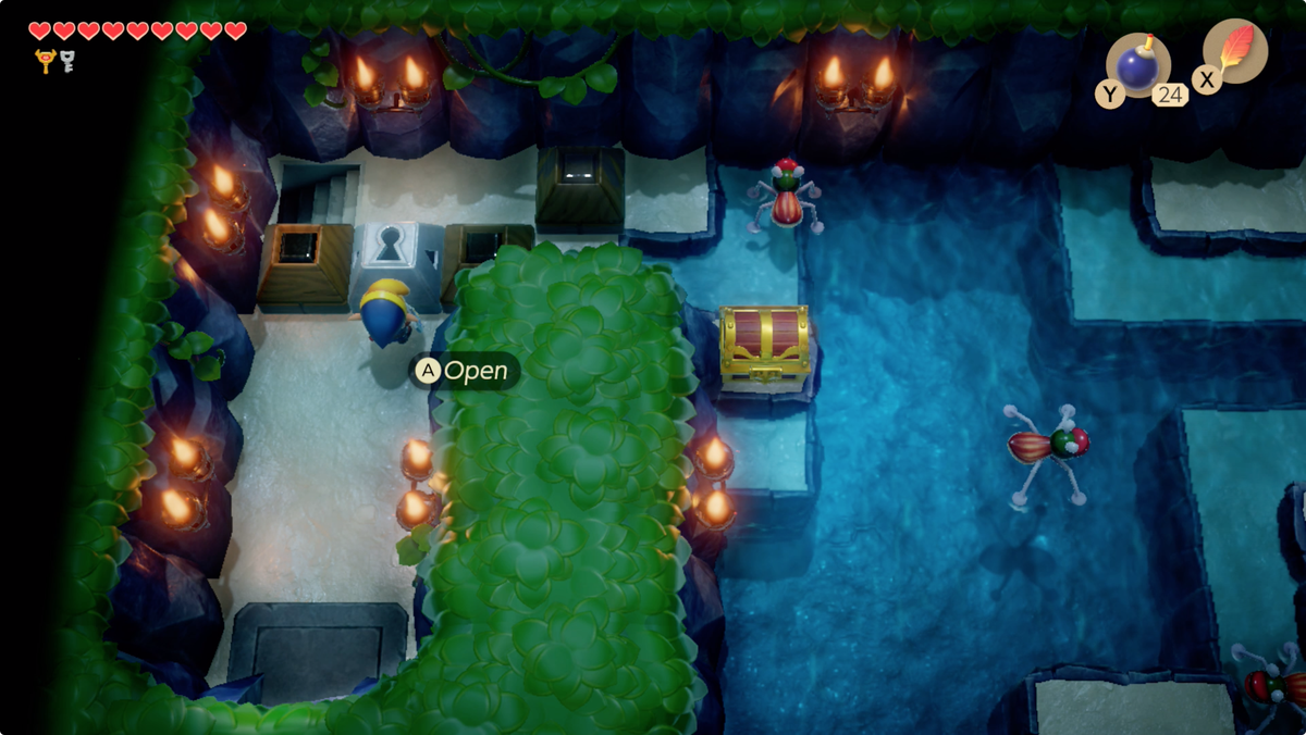Link's Awakening Angler's Tunnelunlock a block to open a chest and reach the stairs