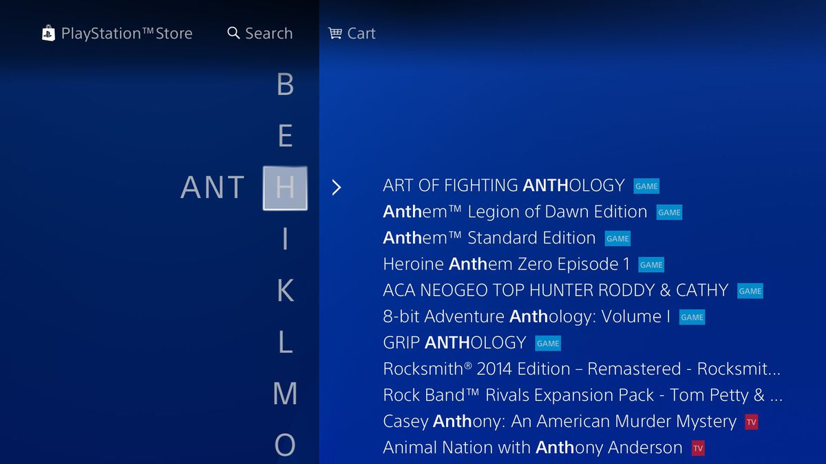 searching for 'ant' in the PlayStation Store on PS4 as of August 2018