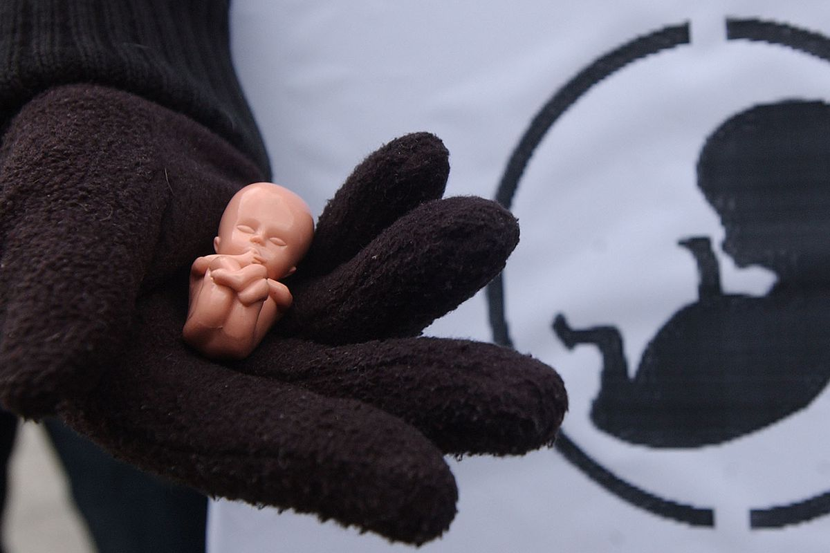 A young woman holds a model of a 10-week human fetus during an anti-abortion rally in Warsaw, Poland, in 2007.