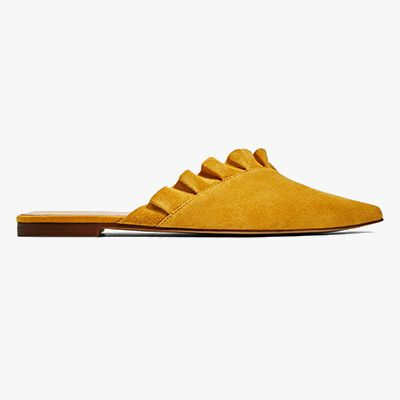 Marigold leather frill mules.