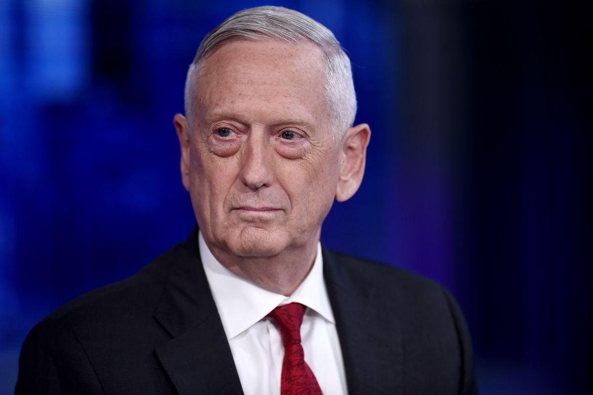 Mattis on Fox News set looking to his right at host MacCallum.