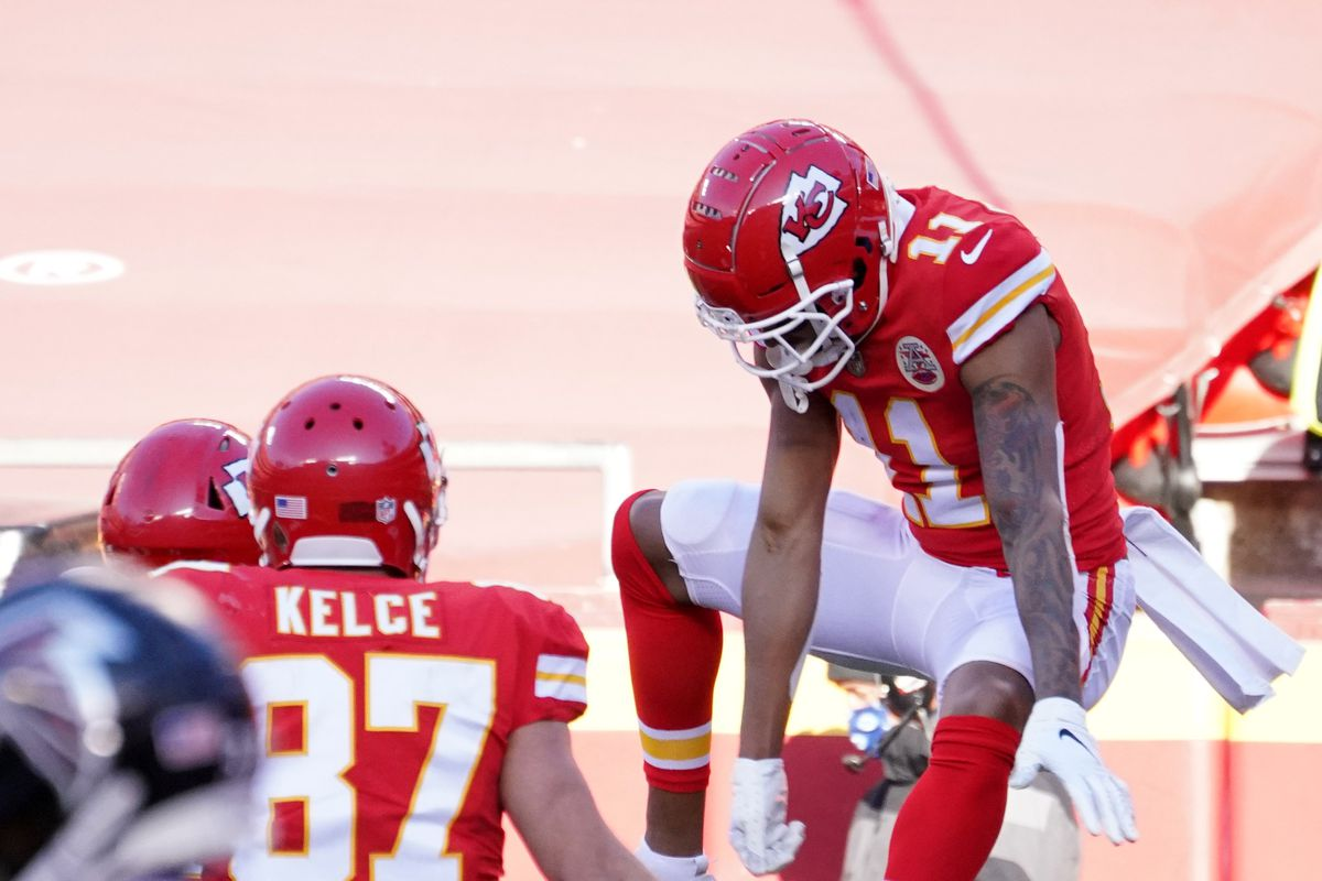 Chiefs wide receiver Demarcus Robinson (11) celebrates after a touchdown catch against the Atlanta Falcons in the fourth quarter of a NFL game at Arrowhead Stadium.