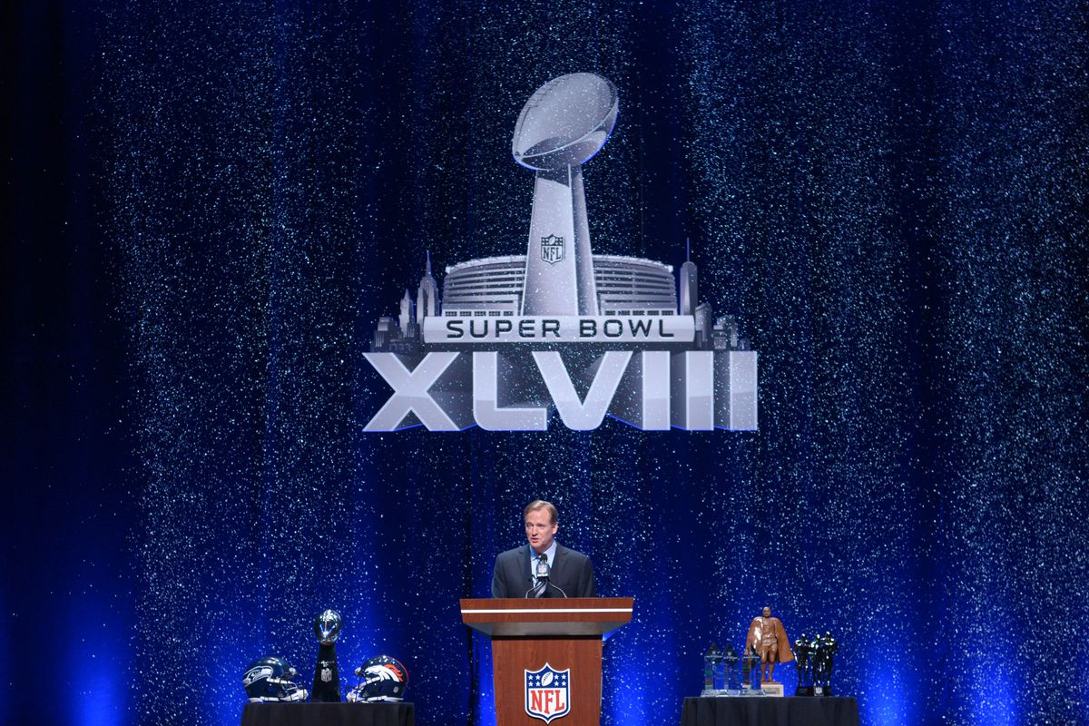 The fake snow that fell during Roger Goodell's speech Friday is likely to be the only snow at the Super Bowl