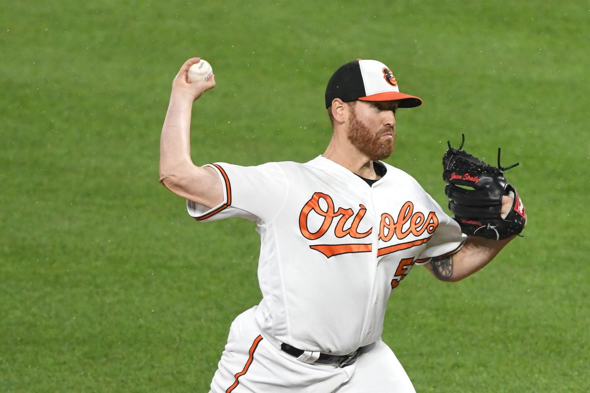 Dan Straily of the Baltimore Orioles pitches during a baseball game against the Toronto Blue Jays at Oriole Park at Camden Yards on June 12, 2019 in Baltimore, Maryland.
