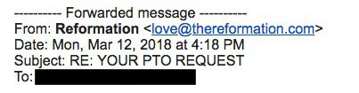 """A subject line that reads: """"RE: YOUR PTO REQUEST."""""""