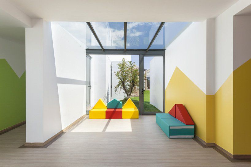 Inside of nursery with bright paint