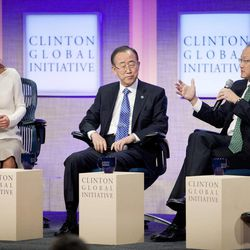 Queen Rania Al Abdullah, left, and United Nations Secretary-General Ban Ki-Moon, center, listen to Jim Yong Kim, right, president of the World Bank, at the Clinton Global Initiative, Sunday, Sept. 23, 2012 in New York.