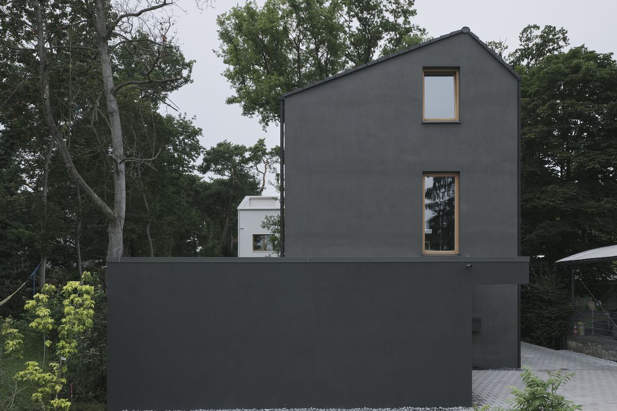 Angled roof house with black facade and two windows.