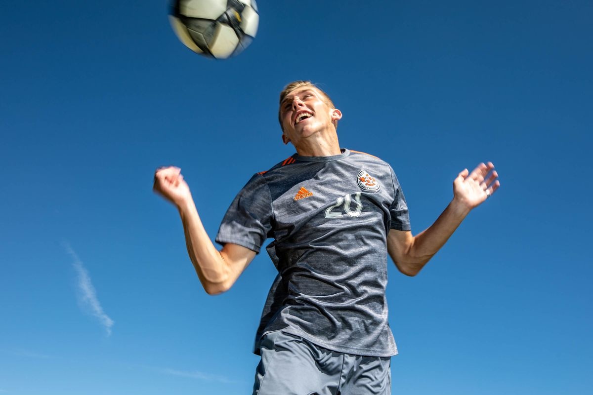 Skyridge midfielder Austin Wallace, this year's Deseret New Mr. Soccer, poses for a photo.