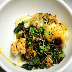 """Roasted Cauliflower with Crispy Brussel Sprouts and Vadouvan Caulfilower Puree from The Cleveland by <a href=""""http://www.flickr.com/photos/78901893@N06/8565285909/in/pool-eater/"""">pssp87</a>"""