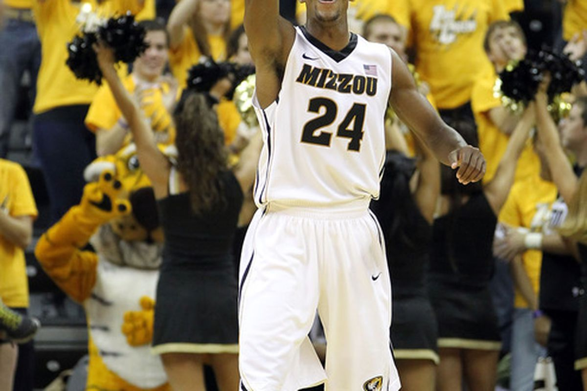 COLUMBIA, MO - NOVEMBER 17:  Kim English #24 of the Missouri Tigers reacts after scoring during the game against the Niagara Purple Eagles on November 17, 2011 at Mizzou Arena in Columbia, Missouri.  (Photo by Jamie Squire/Getty Images)