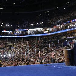 Former President Bill Clinton addresses the Democratic National Convention, Wednesday, Sept. 5, 2012, in Charlotte, N.C. (AP Photo/Pablo Martinez Monsivais)
