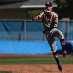 American Fork's Fisher Ingersoll catches a line drive and turns to catch the runner and make a double play in a high school baseball game in Pleasant Grove on Tuesday, May 4, 2021.