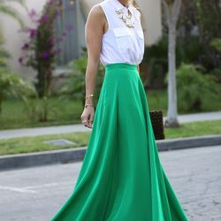 """Jacey of <a href=""""http://www.damselindior.com/"""">Damsel in Dior</a> is wearing a <a href=""""http://www.naven.com/products/bottoms/maxi_skirt"""">Naven</a> skirt, an <a href=""""http://www.neimanmarcus.com/p/Equipment-Signature-Sleeveless-Pocket-Blouse-White/prod15"""