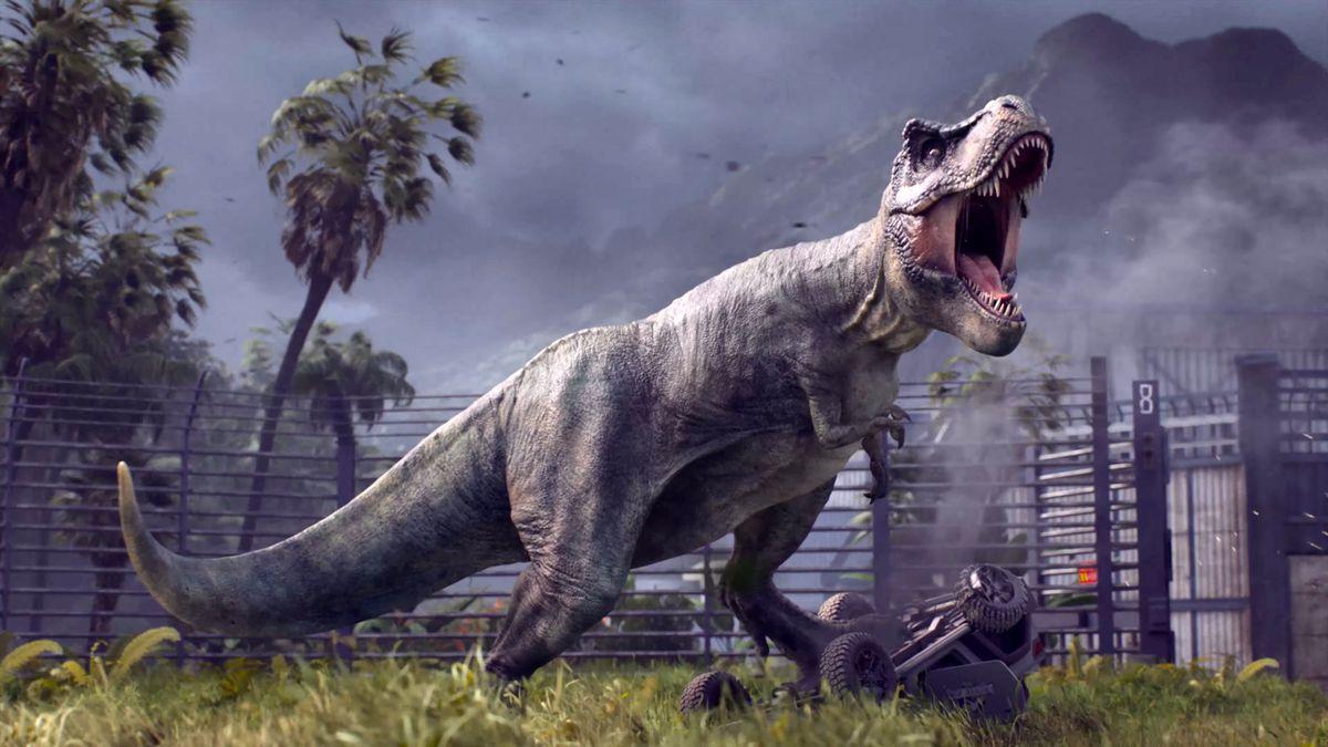 A T-Rex lets out a powerful roar somewhere inside Jurassic Park