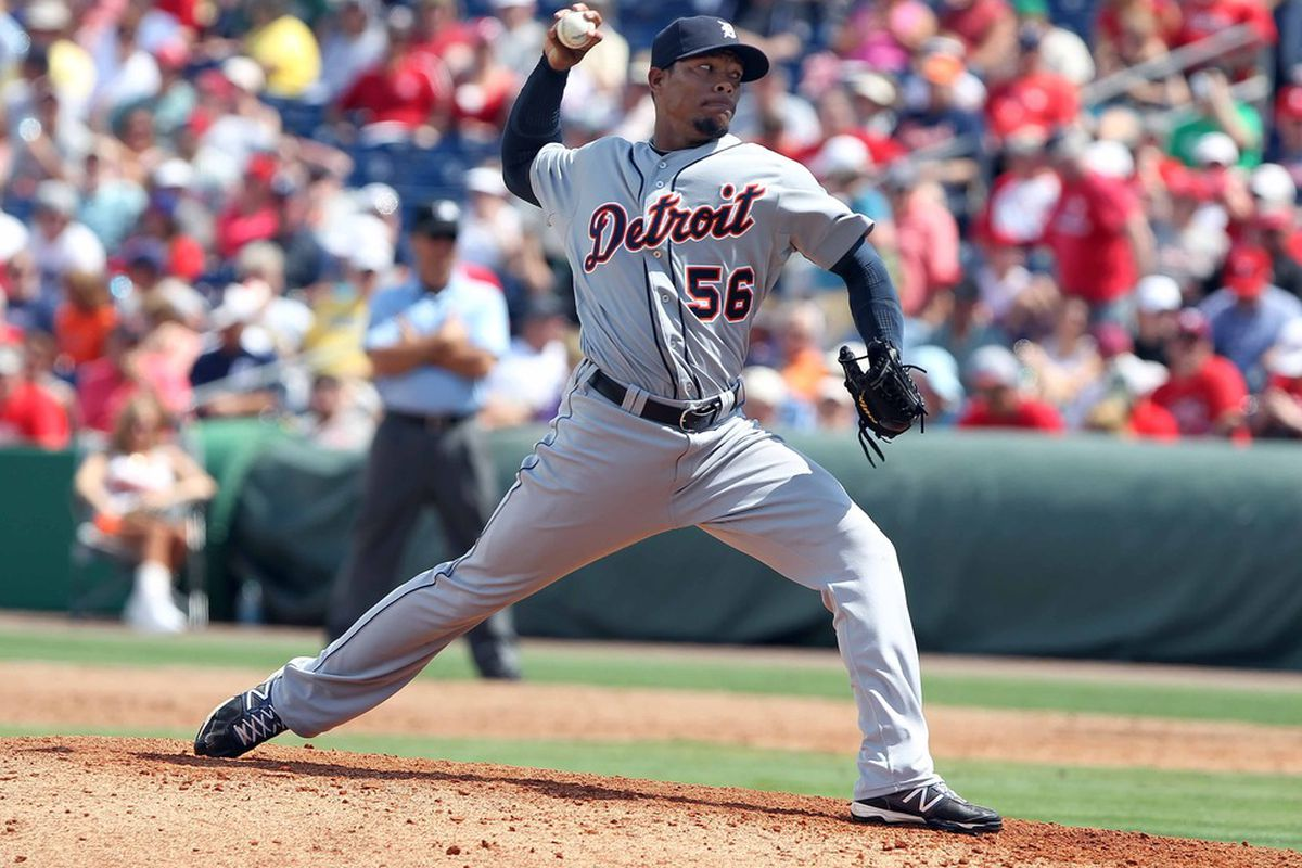 RP Jose Ortega, pitching here in spring training, will make his major league debut with the Tigers.