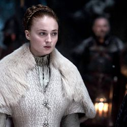 Season 5: Sansa's hair is always perfect at her weddings, but here she is marrying the atrocious Ramsay. No.