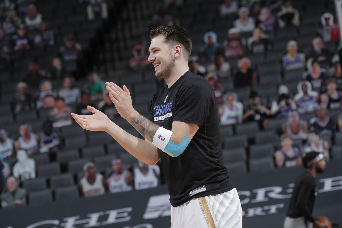 Luka Doncic of the Dallas Mavericks smiles before the game against the Sacramento Kings on April 26, 2021 at Golden 1 Center in Sacramento, California.