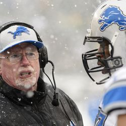 Detroit Lions assistant defensive line coach Jim Washburn along the sidelines during the third quarter against the Philadelphia Eagles at Lincoln Financial Field