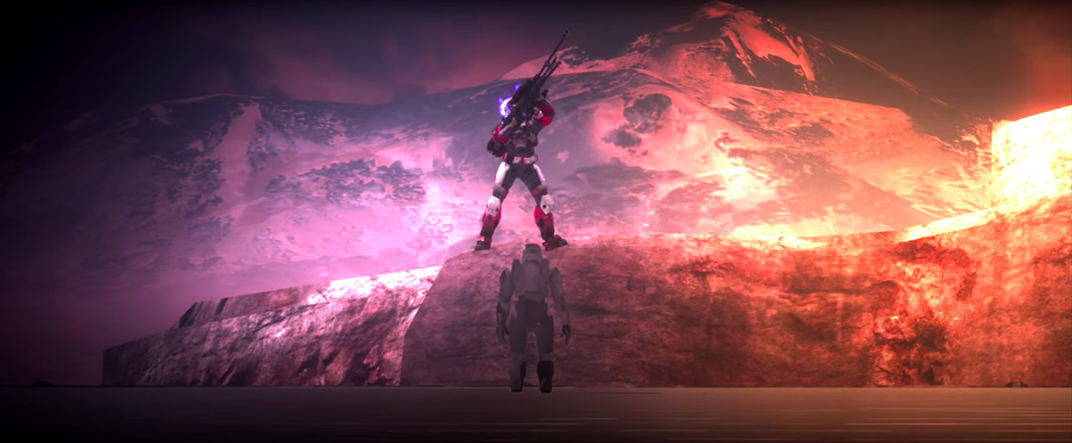 A Halo: Reach player stands atop a Master Chief easter egg.