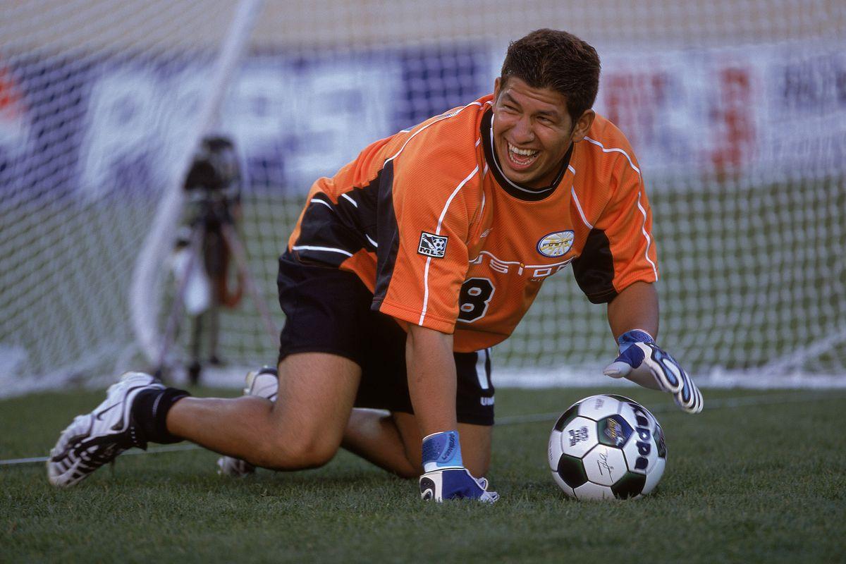 Nick Rimando handles the ball during the 2001 MLS All-Star skills challenge.