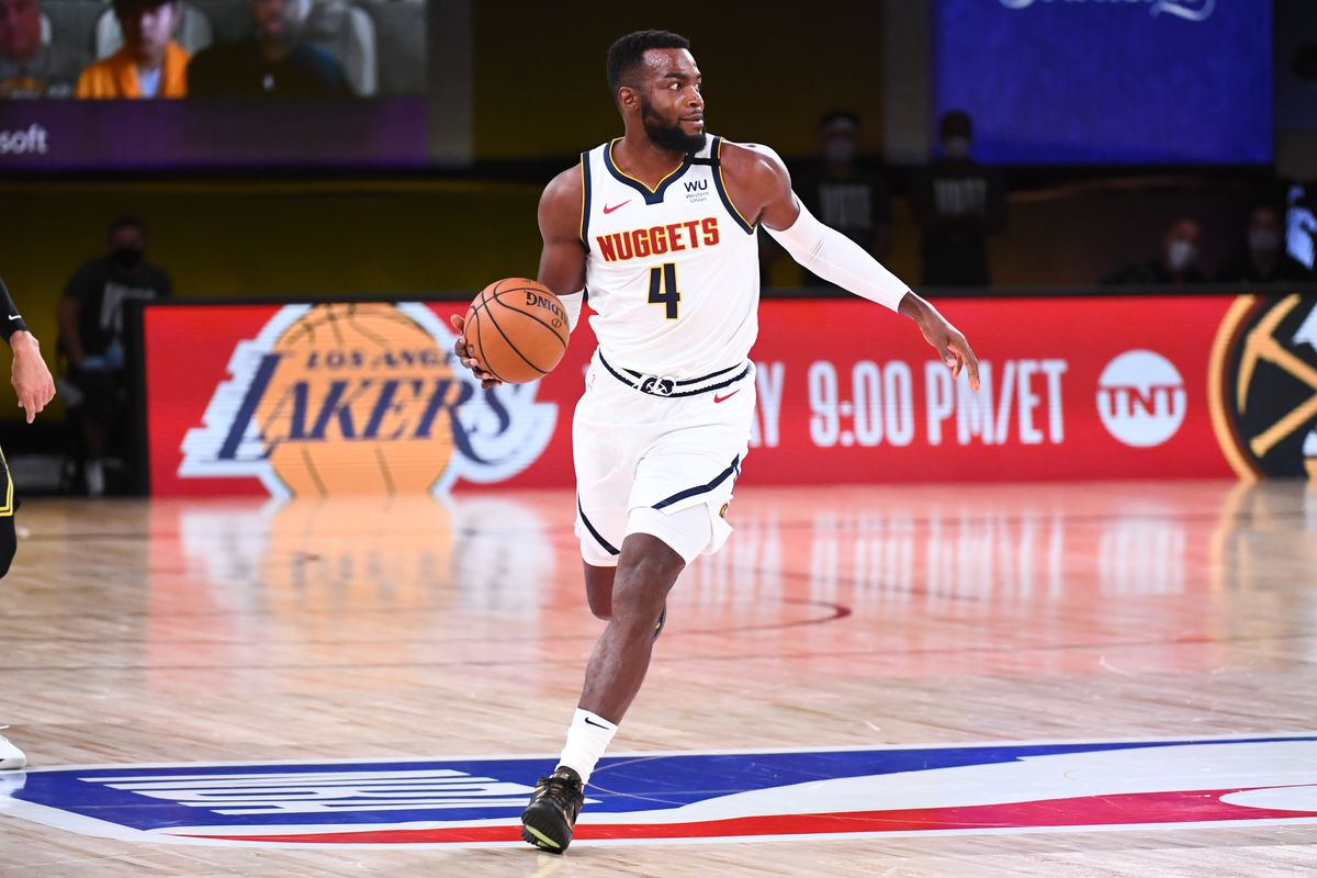 Paul Millsap of the Denver Nuggets handles the ball against the Los Angeles Lakers during Game Two of the Western Conference Finals on September 20, 2020 in Orlando, Florida at AdventHealth Arena.