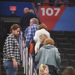 Basketball fans leave Chesapeake Energy Arena after it is announced that an NBA basketball game between Oklahoma City Thunder and Utah Jazz in Oklahoma City has been postponed, Wednesday, March 11, 2020.
