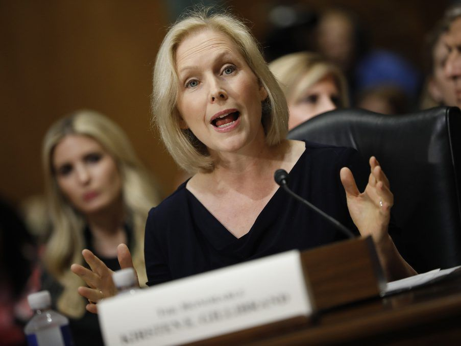 Sen. Kristen Gillibrand (D-NY) speaks during a Commerce Committee hearing earlier this month on Capitol Hill in Washington, DC. (Photo by Aaron P. Bernstein/Getty Images)
