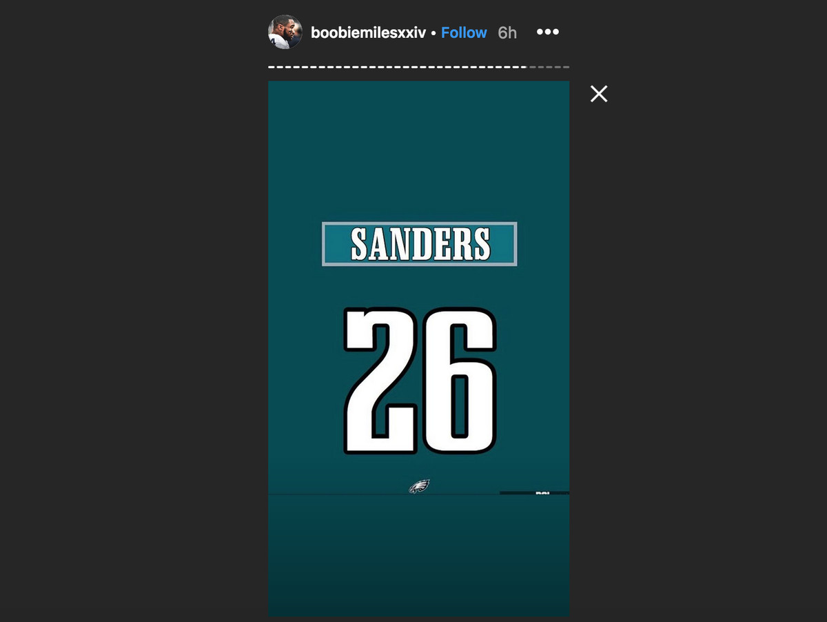 huge selection of c48e1 229d3 Miles Sanders unveils his Eagles jersey number - Bleeding ...