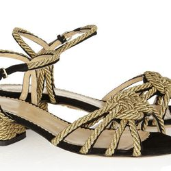 """<b>Charlotte Olympia</b> It's Knot You, It's Me sandals, <a href=""""http://www.net-a-porter.com/product/430575/Charlotte_Olympia/it-s-knot-you-it-s-me-metallic-rope-embellished-suede-sandals"""">$845</a>"""