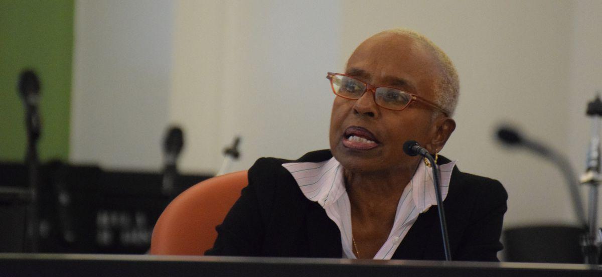 School board member Julia Danzy speaks at the board's June 13 action meeting
