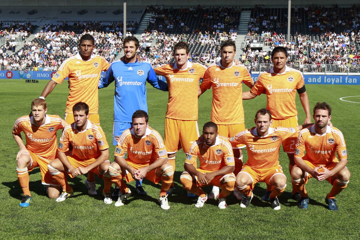 VANCOUVER, CANADA - AUGUST 27: The starting 11 for Houston Dynamo against the Vancouver Whitecaps  prior to their MLS game August 27, 2011 at Empire Field in Vancouver, British Columbia, Canada. (Photo by Jeff Vinnick/Getty Images)