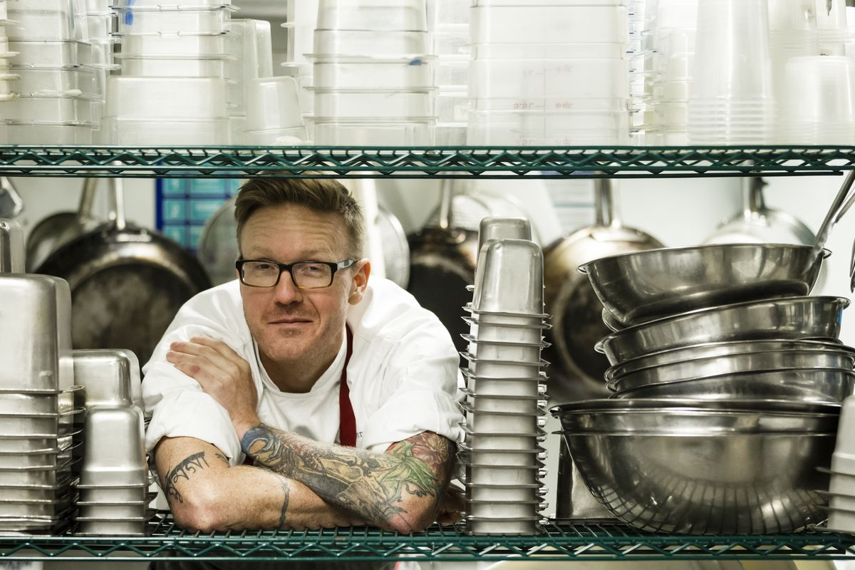 Zeb Stevenson in the kitchen at Watershed.