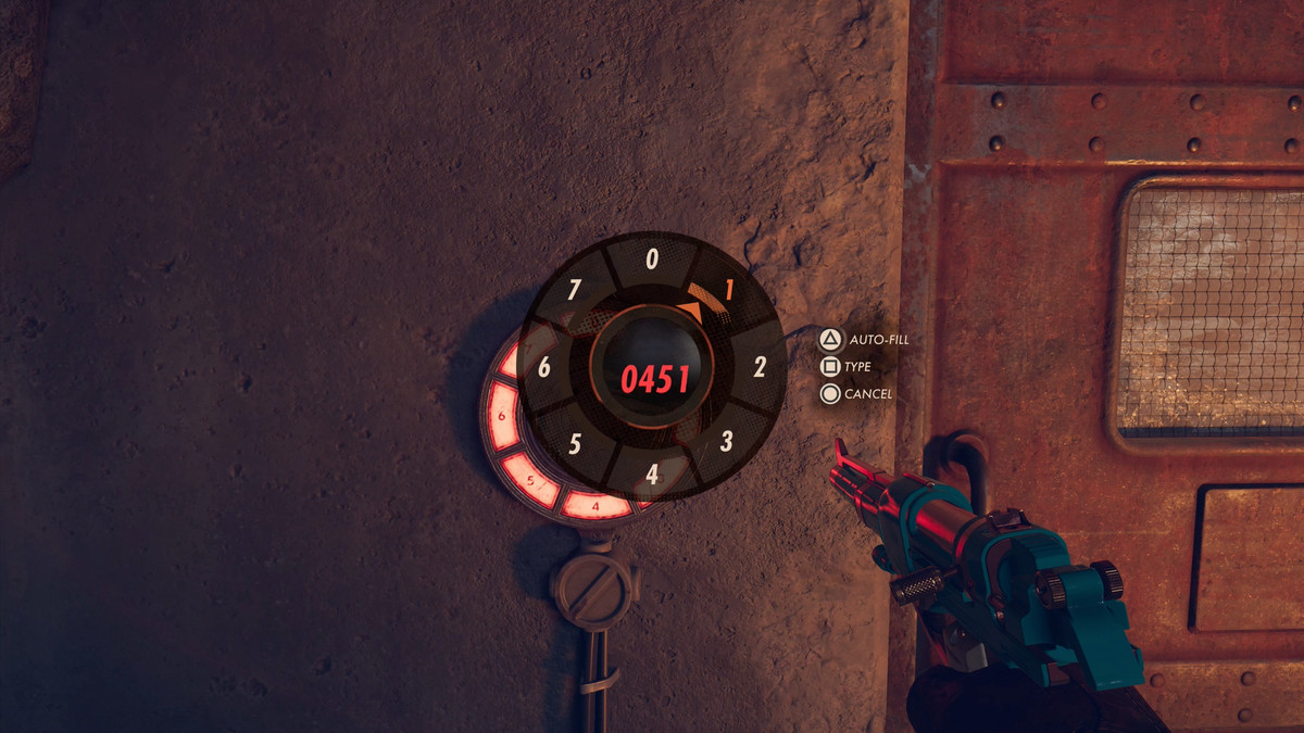 protagonist Colt enters the famous 0451 code into a keypad in Deathloop